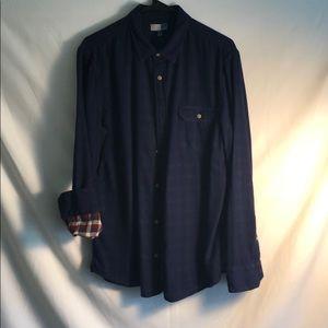 Dark blue checker button down shirt.